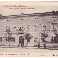 #2009- Romania, Maramures, M.Sziget c.p. circ. 1902: Casa nastere Prielle C. - Carte Postala Maramures pana la 1904, Circulata, Fotografie, Sighetu Marmatiei