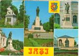 CPI (B8407) CARTE POSTALA - IASI. STATUIA ASACHI, ALECSANDRI, EMINESCU, DOSOFTEI, Circulata, Fotografie