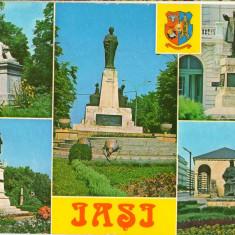 CPI (B8407) CARTE POSTALA - IASI. STATUIA ASACHI, ALECSANDRI, EMINESCU, DOSOFTEI - Carte Postala Moldova dupa 1918, Circulata, Fotografie