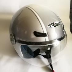 Casca moto / scuter argintie Nitro Seventy five ca noua mar. XXS - 58cm