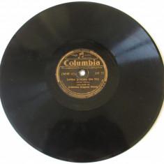 Disc ebonita gramofon Grigoras Dinicu si orchestra, marca Columbia din anii 30 - Muzica Lautareasca Altele, Alte tipuri suport muzica