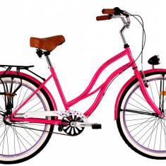 Bicicleta DHS Cruiser 2698 Culoare RozPB Cod:215269811 - Bicicleta de oras DHS, Otel