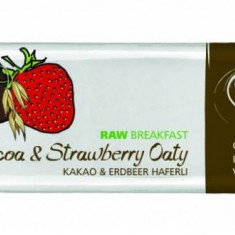Baton RAW breakfast cu capsuni, cacao si ovaz BIO 40 g - Supliment nutritiv