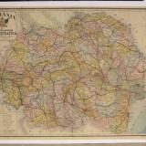 Harta color Romania Mare anii 30 noua impartire pe judete 66x87 cm