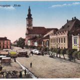 #2013- Romania, Maramures, M.Sziget c.p. necirc. apr. 1916: Centrul, animat - Carte Postala Maramures 1904-1918, Necirculata, Fotografie, Sighetu Marmatiei