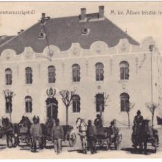 #2011- Romania, Maramures, M.Sziget c.p. circ. 1906: Scoala Sup. fete, animat - Carte Postala Maramures 1904-1918, Circulata, Fotografie, Sighetu Marmatiei