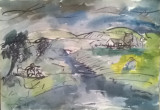 PEISAJ DOBROGEAN, Peisaje, Acuarela, Impresionism