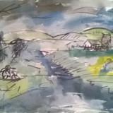 PEISAJ DOBROGEAN - Pictor roman, Peisaje, Acuarela, Impresionism