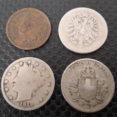 Lot patru monede vechi, America de Nord, An: 1907, Alpaca