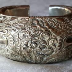 OPULENTA Bratara argint TRIBALA afghana UNICAT gravata manual MASIVA de Efect
