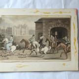 "Thomas Rowlandson ""A Noble Hunting Party"" gravura veche 1821 - Pictor strain, Scene gen, Cerneala, Realism"