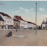 #2012- Romania, Maramures, M.Sziget c.p. KuK cenz. circ. 1917: Centrul, animat - Carte Postala Maramures 1904-1918, Circulata, Fotografie, Sighetu Marmatiei