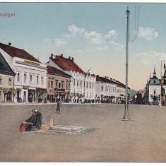 #2012- Romania, Maramures, M.Sziget c.p. KuK cenz. circ. 1917: Centrul, animat, Circulata, Fotografie, Sighetu Marmatiei