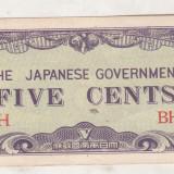 Bnk bn burma 5 cents 1942 xf, 9a, ocupatia japoneza - bancnota asia