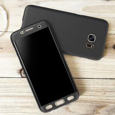 Samsung S7 Edge Husa 360 Fata Spate Plastic Siliconat Neagra Slim 0.3mm - Husa Telefon, Samsung Galaxy S7 Edge, Negru, Carcasa