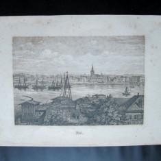 Gravura veche, probabil sfarsitul sec. XIX: Orasul german Kiel - Litografie