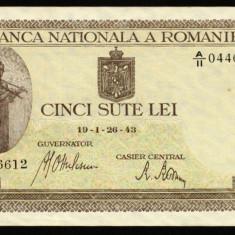 Z912 ROMANIA 500 LEI 1943 APROAPE NECIRCULATA aUNC - Bancnota romaneasca