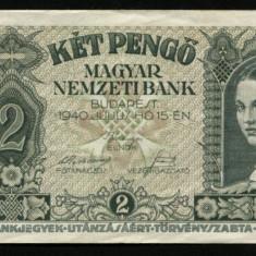 X898 UNGARIA BANCNOTA DE 2 PENGO 1940 aUNC APROAPE NECIRCULATA - bancnota europa