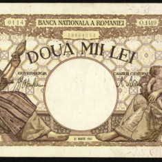V250 ROMANIA 2000 LEI 23 MARTIE 1943 aUNC APROAPE NECIRCULATA - Bancnota romaneasca