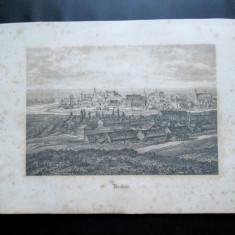 Gravura veche, probabil sfarsitul sec. XIX: Orasul Cracovia / Polonia - Litografie