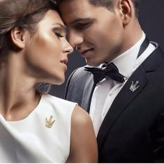 Brosa Coroana Cu Pietre Pentru Barbati-Femei Pentru Aniversare, Logodna, Nunta - Brosa Fashion