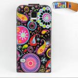 Husa flip - Samsung Galaxy S5 - Husa Telefon Samsung, Negru, Textil