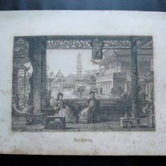 Gravura veche, probabil sfarsitul sec. XIX: Orasul Peking / China - Litografie
