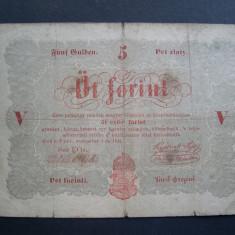 Ungaria 5 forint 1848 septembrie 1 Budapesta, varianta tiparita la Budapesta EOs - bancnota europa