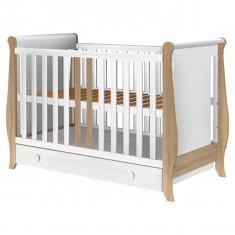 Patut copii din lemn Hubners Mira 120x60 cm alb-natur cu sertar - Patut lemn pentru bebelusi