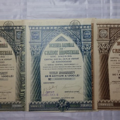 ACTIUNI - SOCIETATEA NATIONALA DE CREDIT INDUSTRIAL- 1923 - 1926 - 1-5-10MII LEI