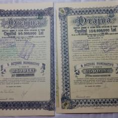 ACTIUNI - DRAJNA - SOC. ANON. PTR. EXPLOATARE DE PADURI - 2500 LEI 1940 SI 42