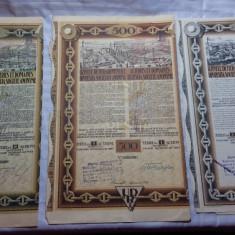 ACTIUNI - UZINELE DE FIER SI DOMENIILE DIN RESITA 500-2500-5000 - ANII1924-1939