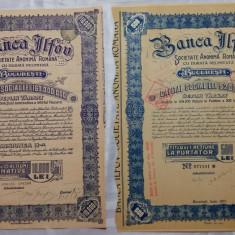 ACTIUNI - BANCA ILFOV - LA PURTATOR 500 LEI 1937 - NOMINATIVE 10000 LEI 1945
