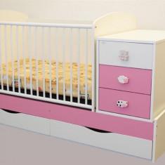 Patut Transformabil Mykids Silence Alb-Roz Cu Leg 4059 - Patut lemn pentru bebelusi