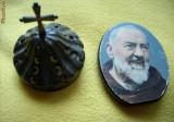 Icoana lemn trandafir - PADRE PIO si fragment de candela veche din bronz (alama)