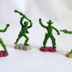 Lot 4 figurine: 2 cowboy si 2 indieni, 6 cm, diorama, decor, colectie, jucarie