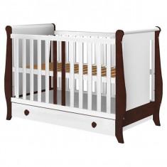 Patut copii din lemn Hubners Mira 120x60 cm alb-venghe cu sertar - Patut lemn pentru bebelusi