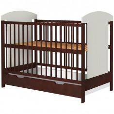 Patut copii din lemn Hubners Kamilla 120x60 cm venghe cu sertar - Patut lemn pentru bebelusi