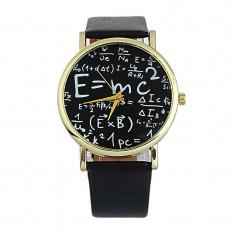 Ceas unisex Geneva fantezie tema matematica e=mc2 einstein curea neagra piele eco+