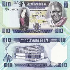 ZAMBIA 10 kwacha 1980-88 UNC!!!