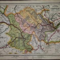 General C. Teodorescu - HARTA JUDETULUI CAMPULUNG ( MOLDOVENESC ), Brasov 1928