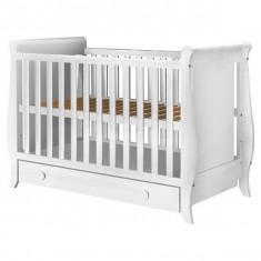 Patut copii din lemn Hubners Mira 120x60 cm alb cu sertar - Patut pliant bebelusi