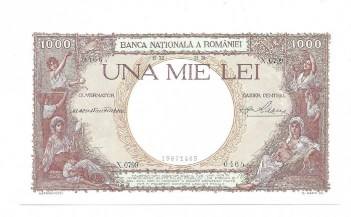 SV * Romania  1000  LEI  1938  *  Regele  Carol  II     UNC