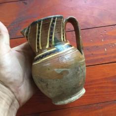 Arta populara romaneasca - cana / ulcior din lut mestesug taranesc ! - Arta Ceramica