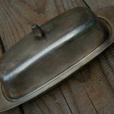TAVĂ VECHE CU CAPAC PENTRU SERVIT PREPARATE - CONFECȚIONATĂ DIN ALAMĂ ARGINTATĂ1 - Metal/Fonta, Vase