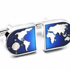Butoni around the world Glob Atlas metal + ambalaj cadou, Inox