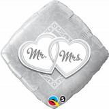 Balon Folie 45 cm Romb Mr & Mrs, Qualatex 25317