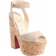 Sandale Louboutin cu platforma - Sandale dama Christian Louboutin, Culoare: Bej, Marime: 37