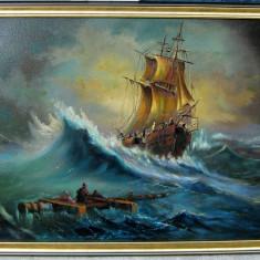 Peisaj marin Naufragiul 1973 tablou pictat in ulei pe panza 75x104cm - Pictor roman, Peisaje, Realism