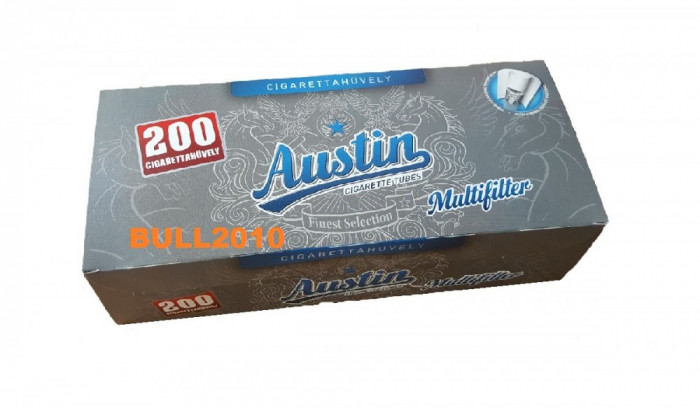 Tuburi AUSTIN CU CARBON ACTIV  200 tuburi tutun, filtre tigari multifilter foto mare